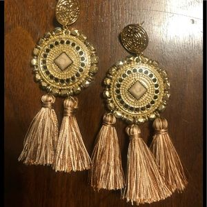Gold and blush pink tassel medallion earrings